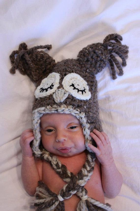 Sleepy Owl HatNewborn to Adult by robynperlmandesigns on Etsy, $40.00