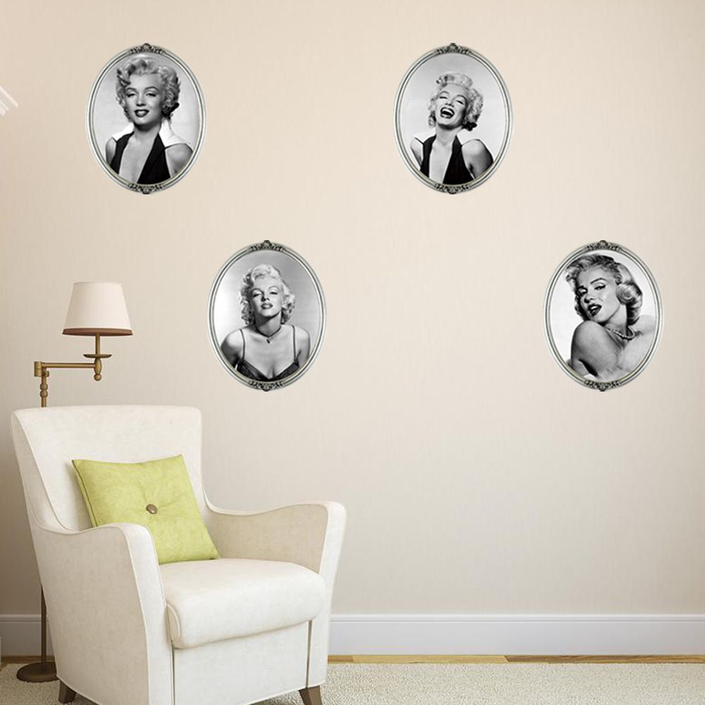 Classic celebrity marilyn monroe wall sticker creative false frame classic celebrity marilyn monroe wall sticker creative false frame 3d sticker living room bedroom art home amipublicfo Image collections