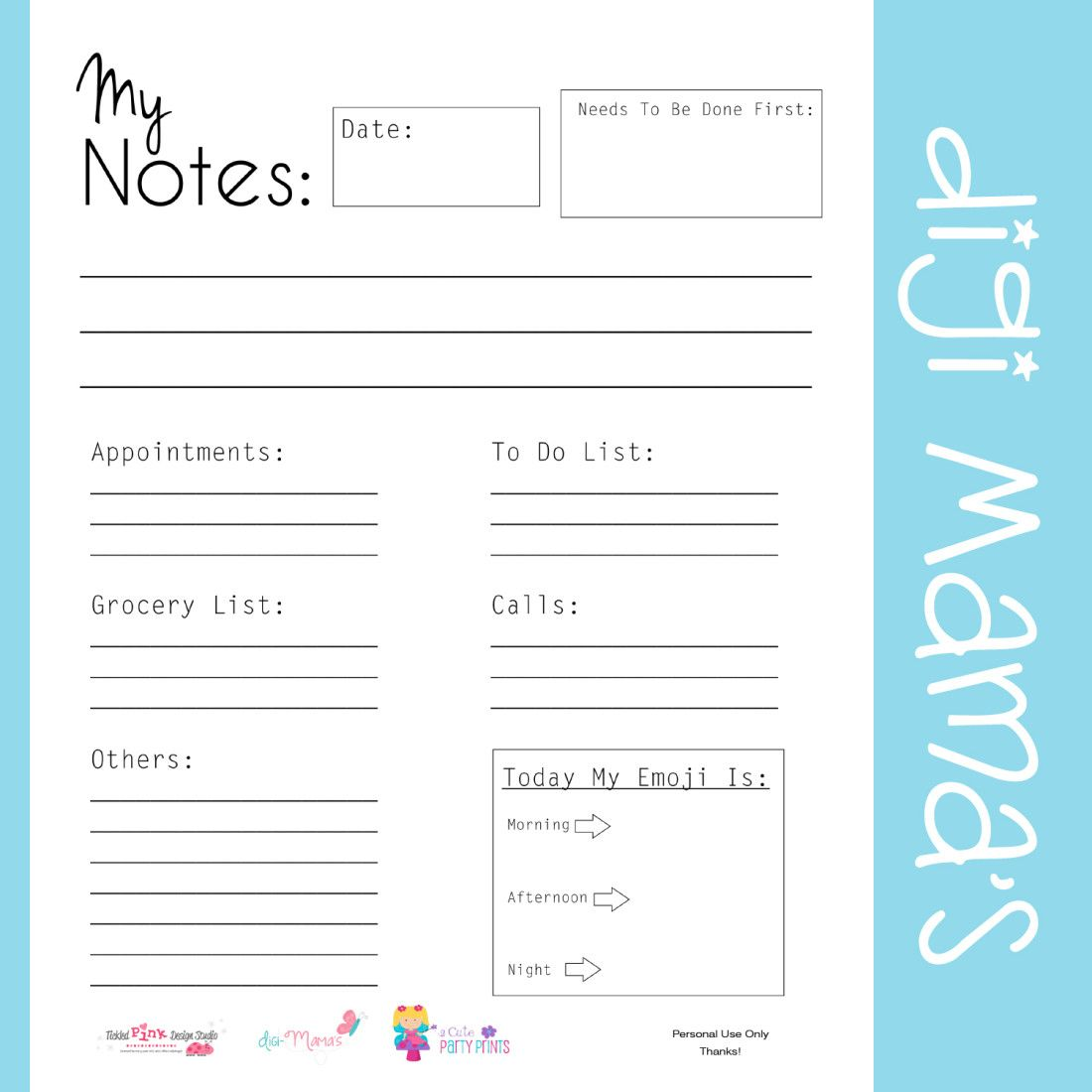 Calendar Organization Questionnaire : Free my notes daily planner printable organizing