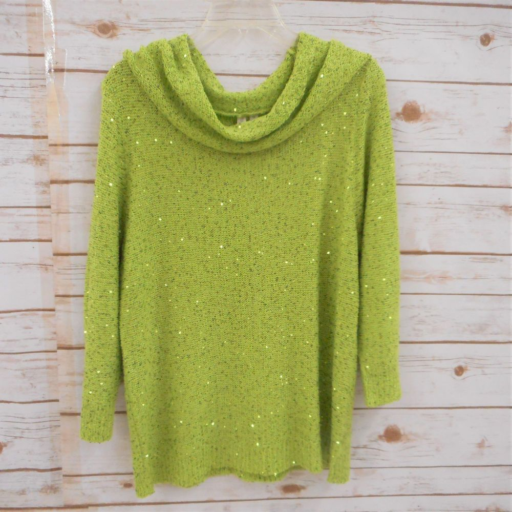 NWT Madison Woman Plus Size 1X Chartreuse Green Cowl Neck Sweater ...
