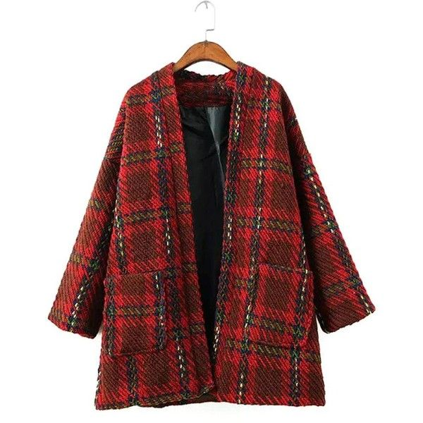 Yoins Red Plaid Coat with Pocket featuring polyvore, women's fashion, clothing, outerwear, coats, jackets, yoins, red, pocket coat, plaid coat, red coat, tartan coat and red plaid coat