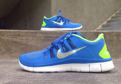 Silver Bling Glitter Shoes - Nike Free Run 5.0 Royal Blue Pale Green