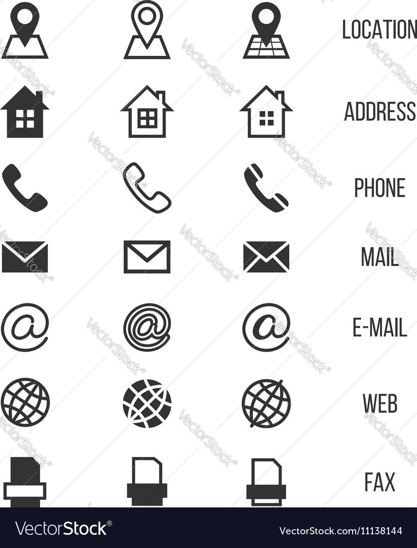 Business card vector icons home and phone address and telephone business card vector icons home and phone address and telephone fax and web location symbols contact of telephone for communication illustration reheart Image collections