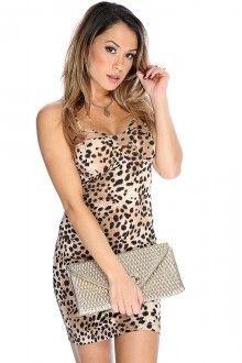 Leopard Print Sleeveless Sexy Bodycon Dress Clubwear For Women b86c4f00f