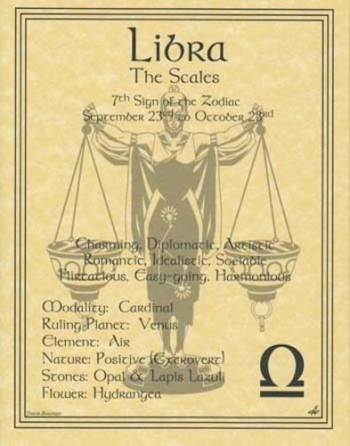 Libra (Zodiac) Parchment Page Book of Shadows, Altar! | Collectibles, Religion & Spirituality, Wicca & Paganism | eBay!