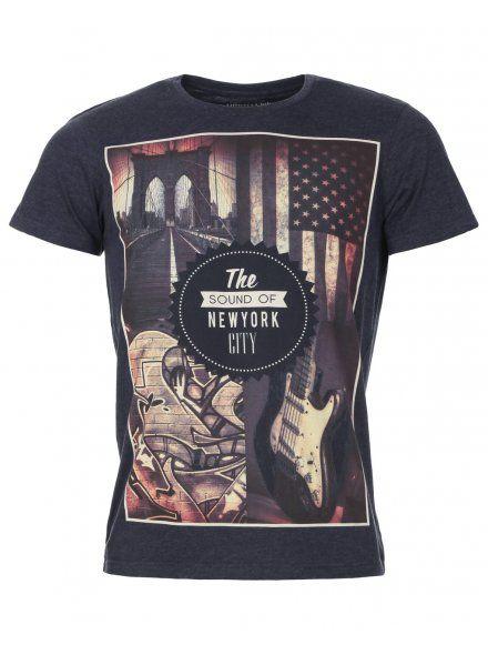 Officers Club Mens Navy Marl Sound Of NY Print T-Shirt, £9.99