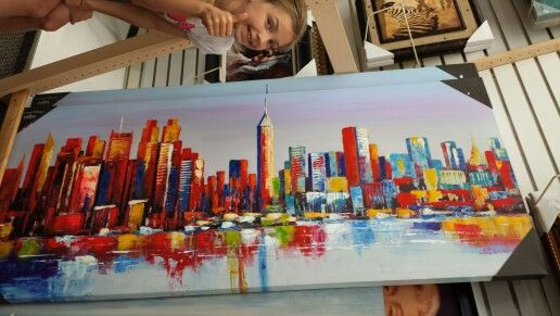 New York skyline acrylic painting at Burlington Coat Factory ...