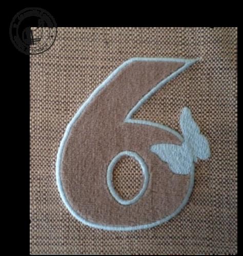 Motif broderie gratuit à télécharger - chiffre appliquée papillon 6 | Broderie gratuite