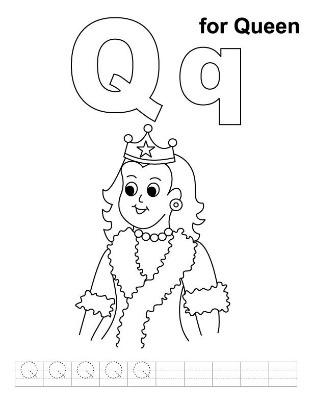 Q for queen coloring page with handwriting practice | #xyz ...