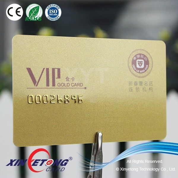 Plastic Gold Background Vip Card Membership Card With Embossed