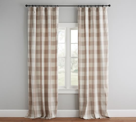 Buffalo Check Drape Buffalo Check Curtains Check Curtains Neutral Curtains