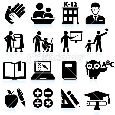 Tutoring And Education Black White Icon Set With Images