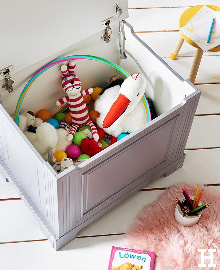 Diese schicke Spielzeugkiste bietet super viel Platz für