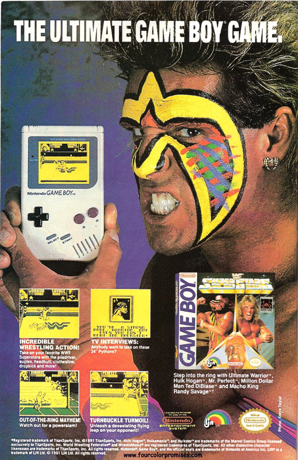 Gameboy color ad - Wwf Superstars Ultimate Warrior Gameboy Ad