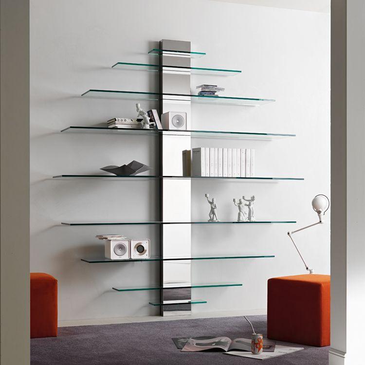 Tonelli Mondovisione Bookcase Tv Unit Glass Living Room Furniture Ultra Modern Minimalist Shelves Small Living Room Furniture Glass Shelves
