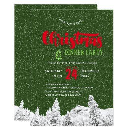 Rustic falling snow green red Christmas party Card - script gifts template templates diy customize personalize special