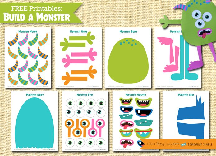 graphic regarding Build a Monster Printable known as Produce A Monster Printable Package Do-it-yourself Little one Designs Printable