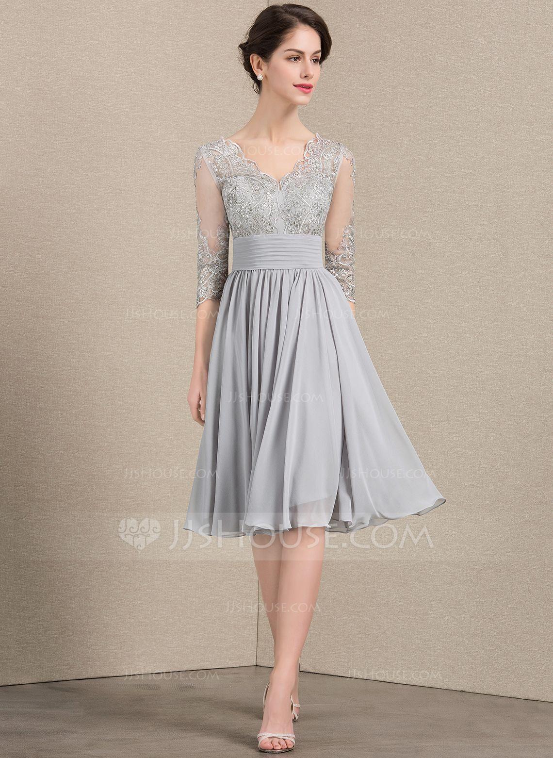 8a5f76a75bc6e A-Line/Princess V-neck Knee-Length Chiffon Lace Mother of the Bride Dress  With Ruffle Sequins (008143372) - Mother of the Bride Dresses - JJsHouse