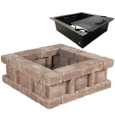 pavestone rumblestone 385 in x 14 in square concrete fire pit kit no 2 in cafe