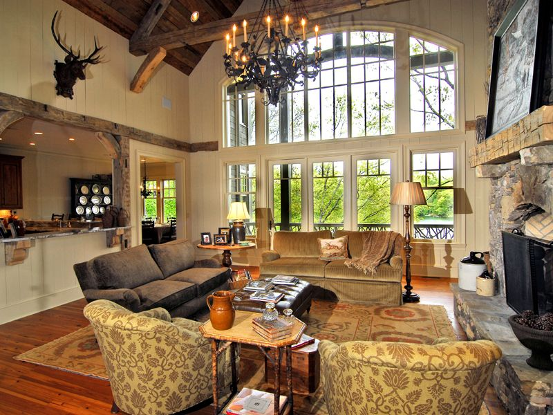 Humphrey creek rustic home luxury house plans craftsman for Rustic great room