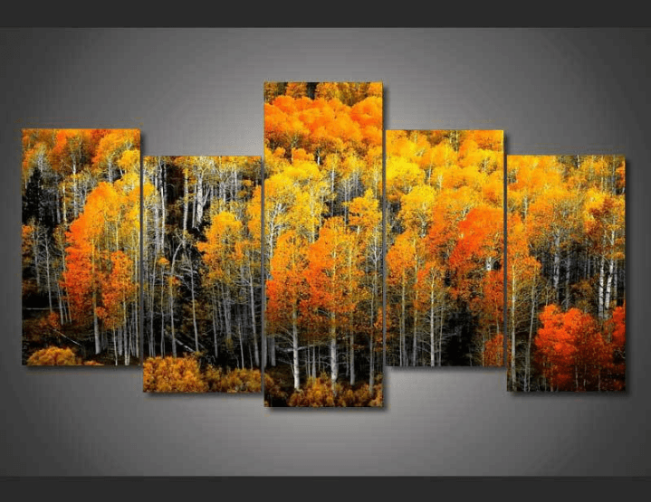 5 Panel Framed Fall Autumn Woods Canvas Painting | Wall