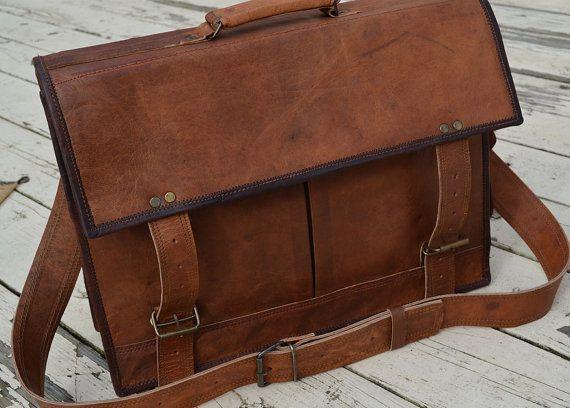 17'' Vintage Laptop Messenger Briefcace Satchel by Redinans