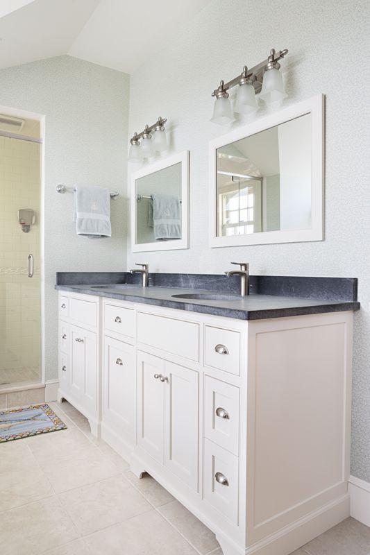 Custom Master Bath Vanity And Soapstone Countertops White Vanity