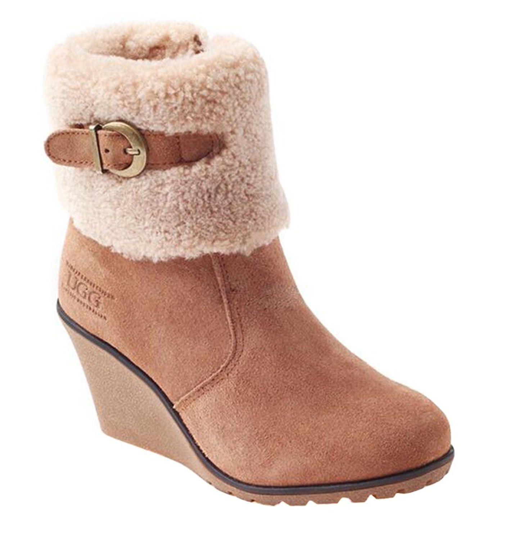 67f774ad1dd OZWEAR UGG Australia Women Wedge Heel Buckle Fur Snow Short Boots ...