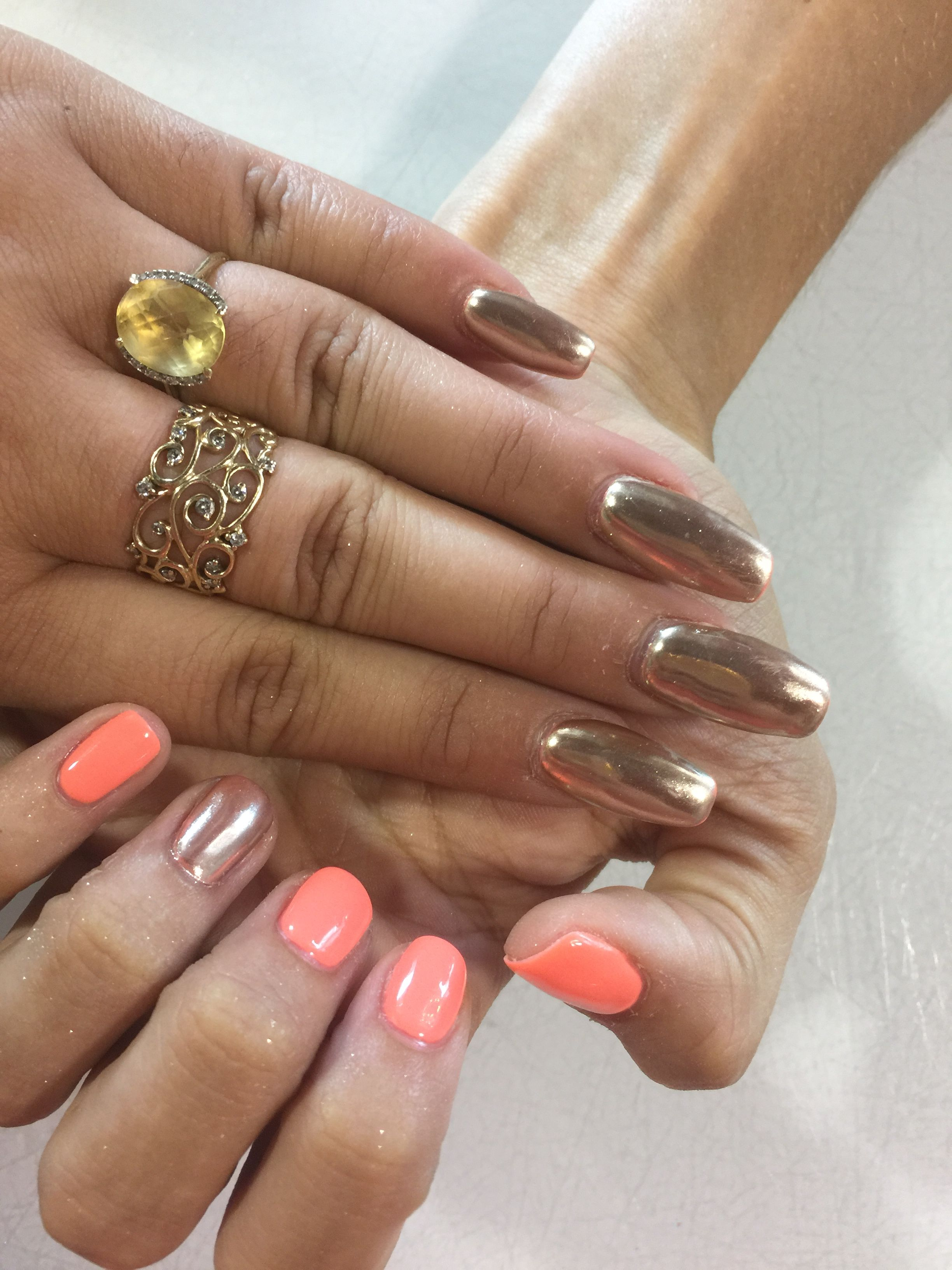 Im brighter than you by gelish with chrome on top ...