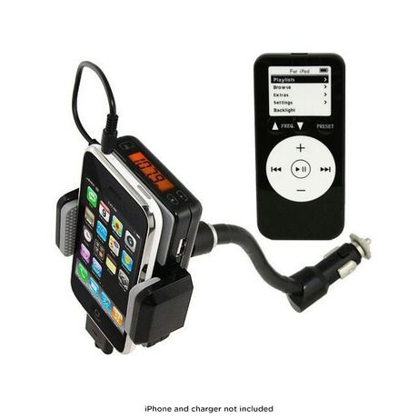 FM Transmitter, Car Charger & Holder for iPhone®, iPod