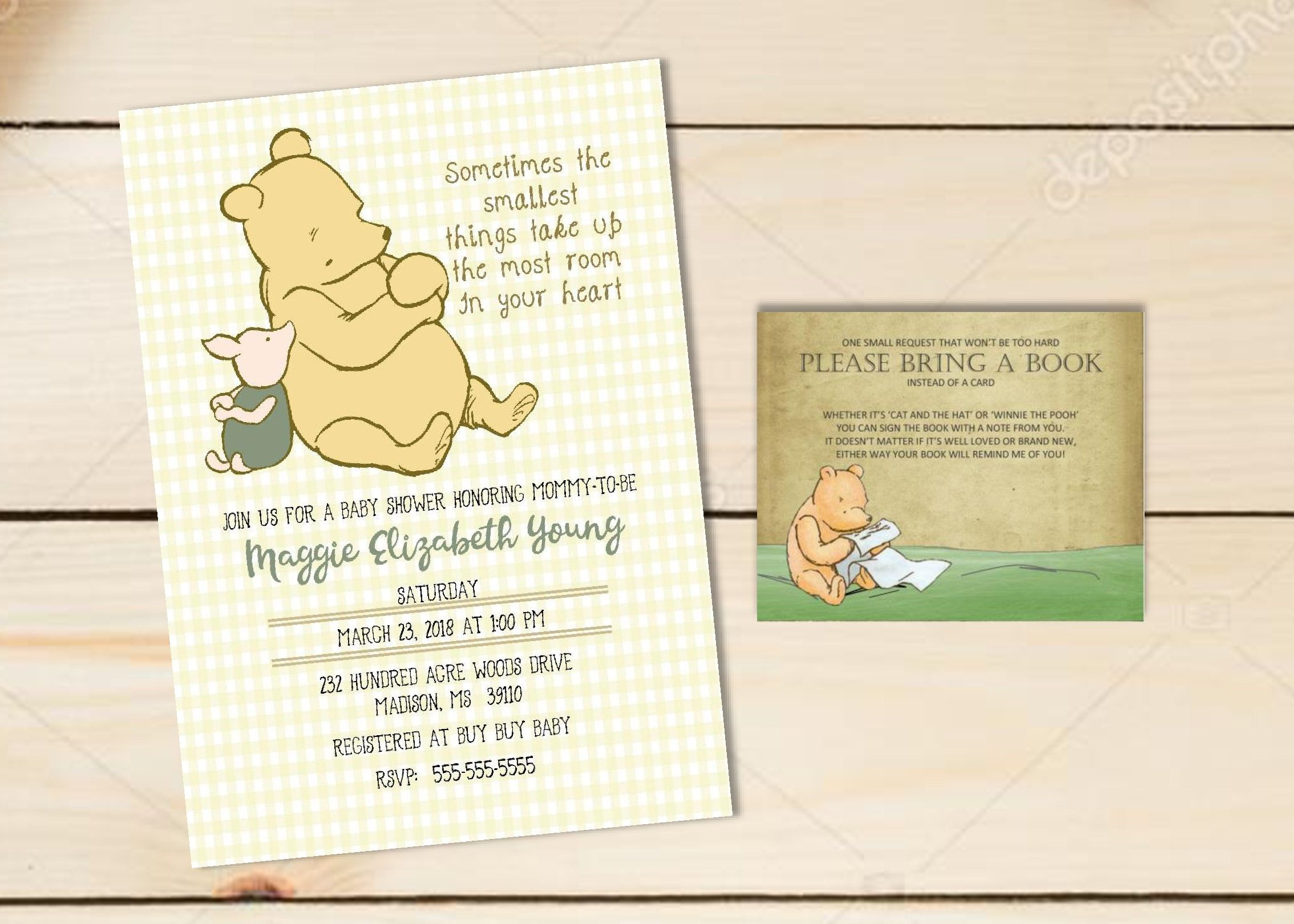 DIY PRINTABLE Classic WInnie the Pooh Baby Shower Invitation and ...
