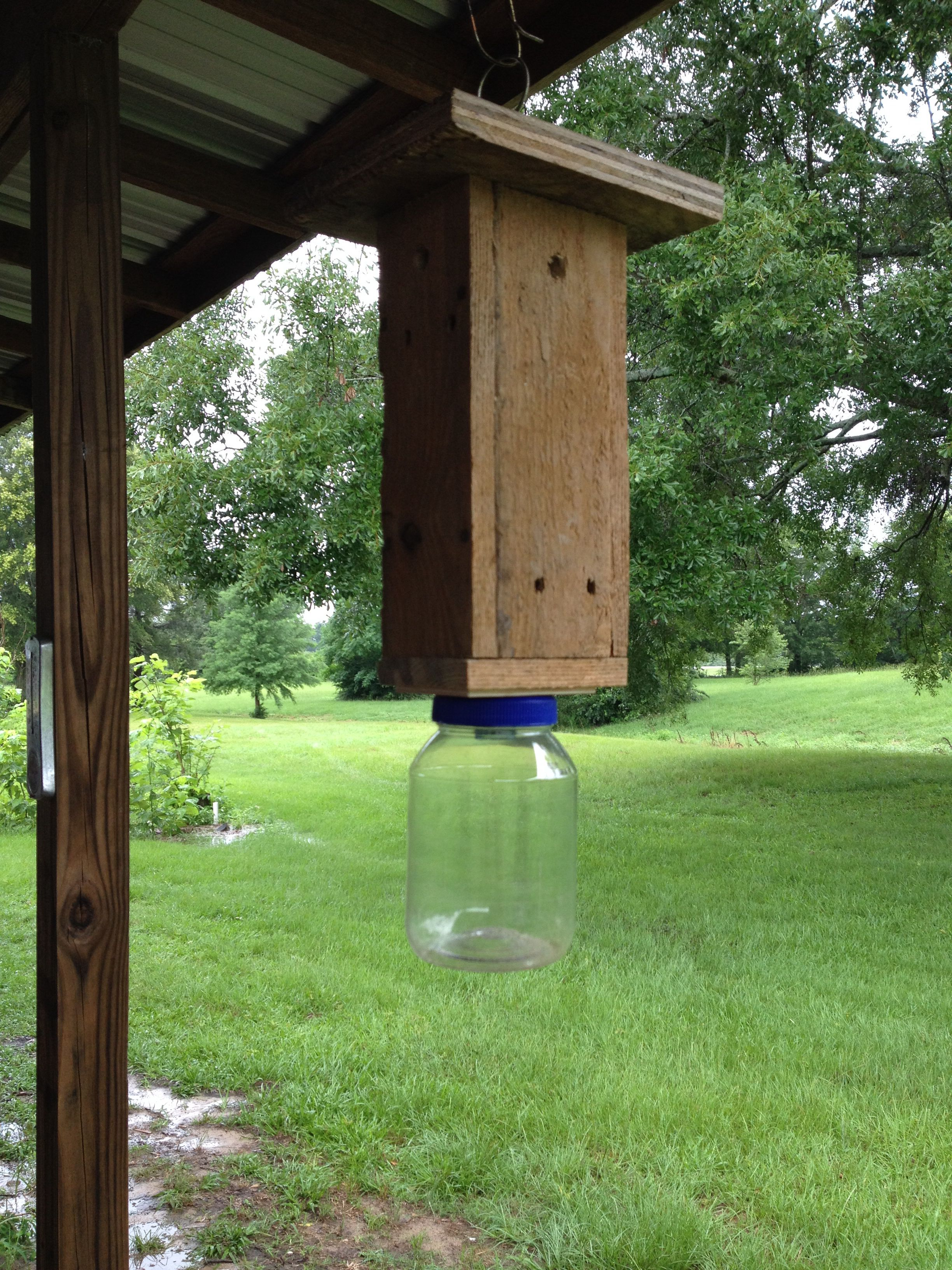 Carpenter bee trap made from pallet wood antler lamp