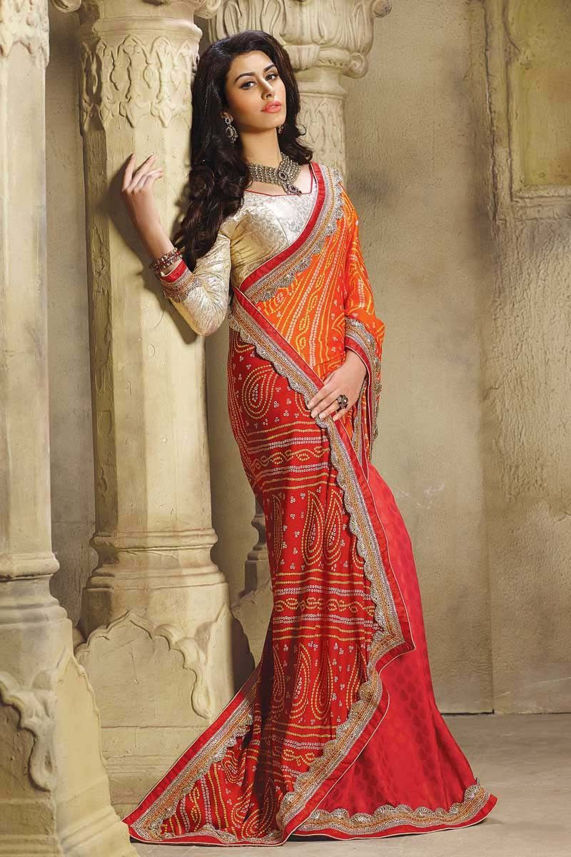 Saree for freshers party in college orange georgette party wear saree  products  pinterest  designer