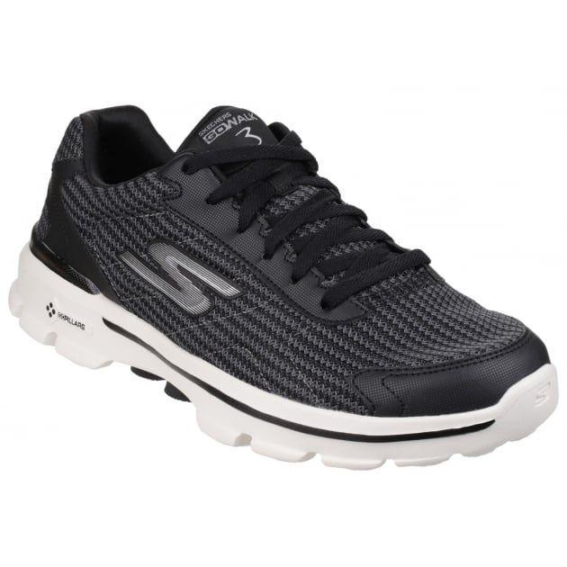 Go Walk 3 Fit Knit BlackWhite SK53981 | Black and white man