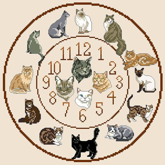 Cats Cross Stitch Clock Chart / Pattern