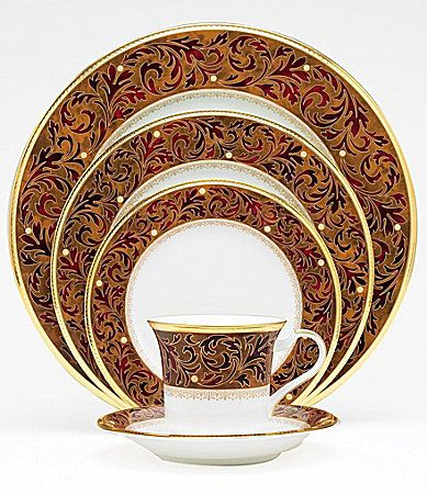 noritake xavier gold china dillards for thanksgiving - Thanksgiving China Patterns