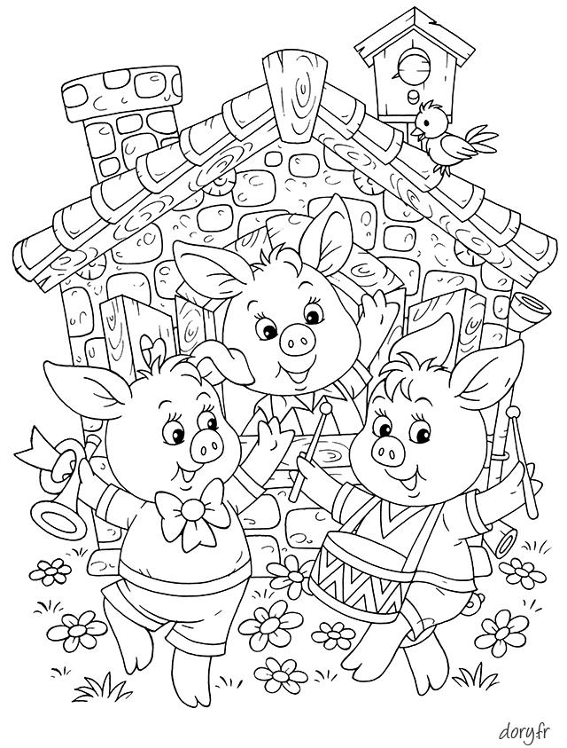 Dessin à Imprimer Les Trois Petits Cochons Coloring Pages For
