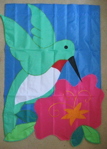 Toland hummingbird bloom large flag by custom d cor inc for Custom decor inc