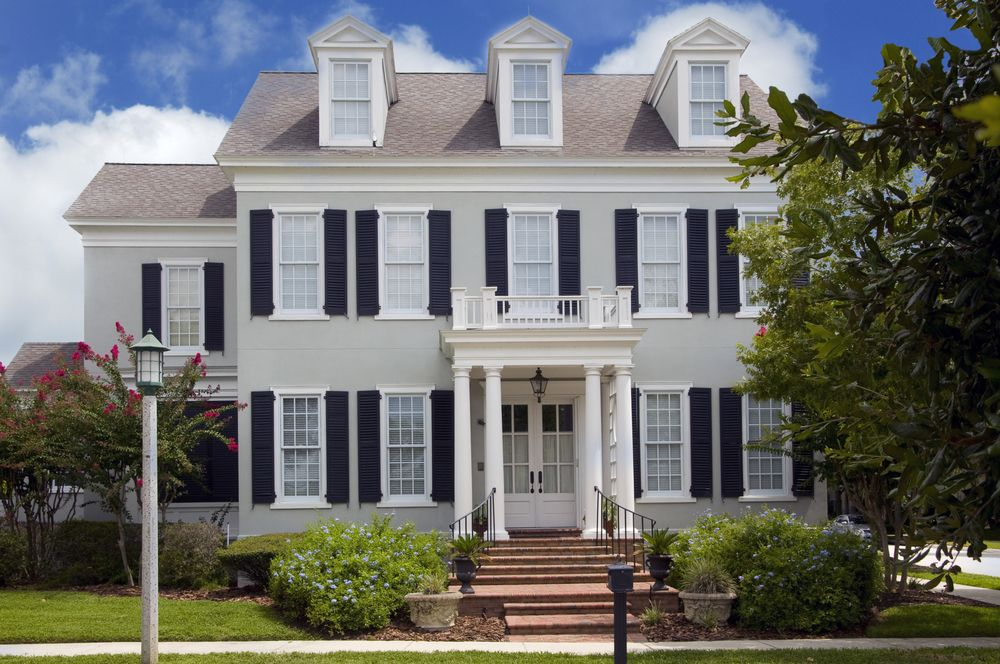 Light Grey House Black Shutters Colonial Style Homes Painted Brick House House Exterior