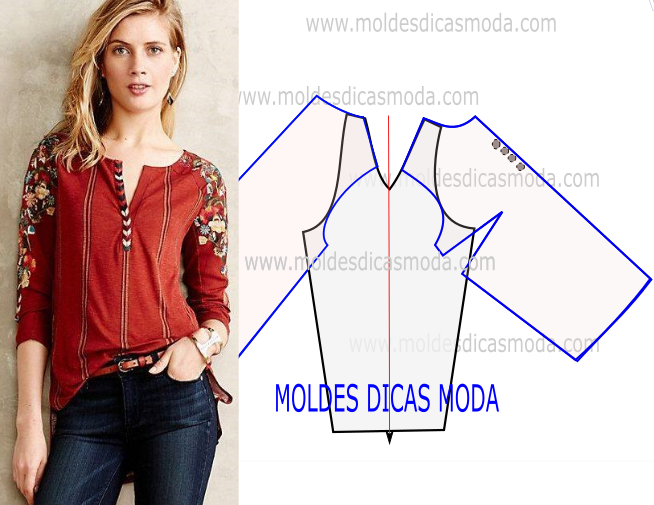 MOLDE DE BLUSA MANGA RAGLAN -94 (Moldes Dicas Moda) | Moda para ...