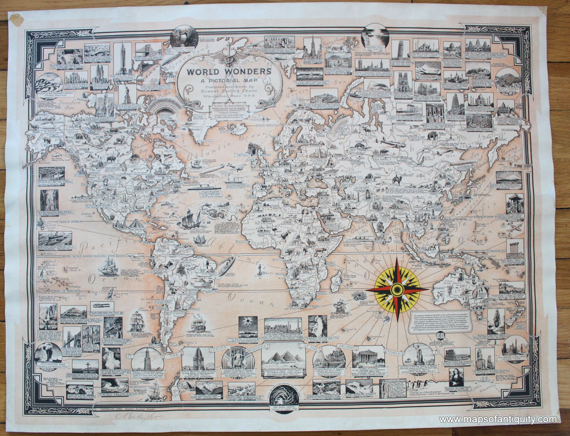 World Wonders A Pictorial Map Antique