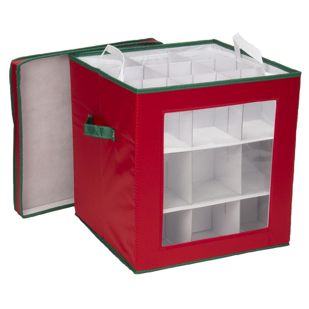 Holiday Ornament Cube Red with Green trim/27