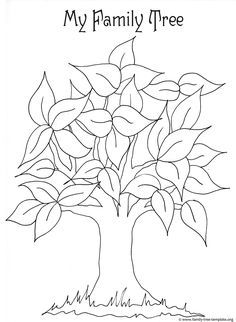 Free printable coloring page for kids with leaves and tree trunk to