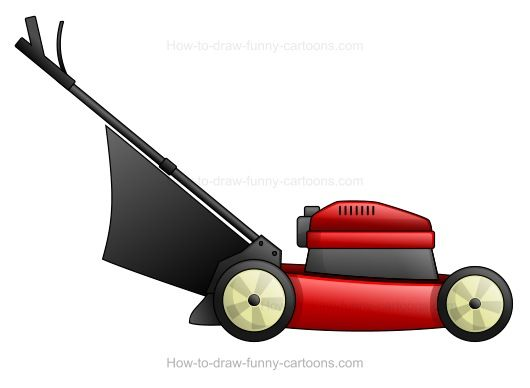 How To Draw A Cartoon Lawn Mower Loaded With Power Lawn Mower Mower Lawn Mower Storage