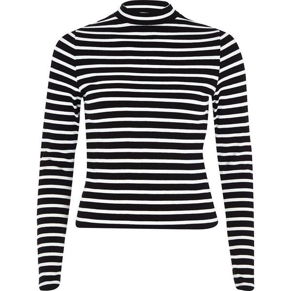 e18a7beaae2df River Island Black stripe ribbed high neck crop top (19 CAD) ❤ liked on