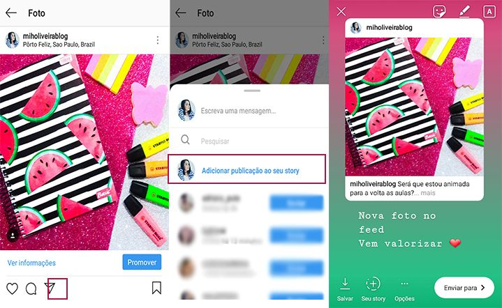 como compartilhar stories do instagram