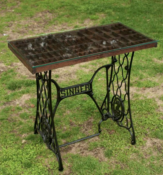 Letterpress Tray Coffee Table: Printer Tray/ Singer Sewing Table