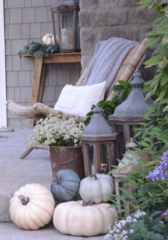 Neutral Fall Decor With White And Grey Pumpkins Neutral Fall Decor White Pumpkins Grey Pumpkin Fall Decorations Porch Fall Outdoor Decor White Pumpkin Decor