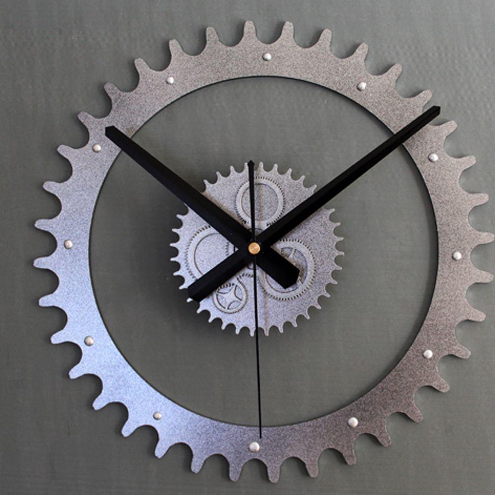 Acrylic metal tone wall clock 3d diy creative gear clock modern acrylic metal tone wall clock 3d diy creative gear clock modern design silent movement living room amipublicfo Images