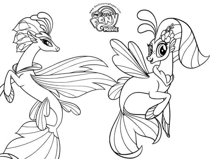 My Little Pony The Movie Coloring Page Queen Novo And Skystar My Little Pony Coloring My Little Pony Movie Cartoon Coloring Pages